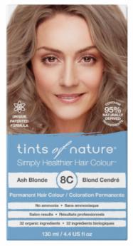 Tints of Nature 8C Ash Blonde Permanent Hair Dye 130ml