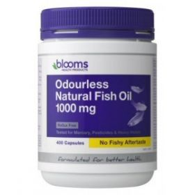 Blooms Omega 3 ODOURLESS Natural Fish Oil 1000mg capsules 400 Caps