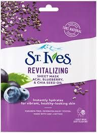 St Ives Sheet Mask Acai Blueberry & Chia Seed Oil