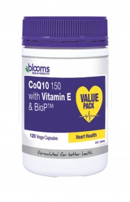 Blooms CoEnzyme Q10 150 Max ( 150mg with Vit E & BioP) vegetarian capsules 120 Caps