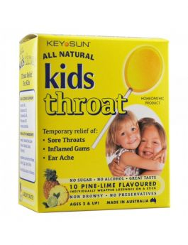Key Sun - All Natural Kids Throat - Pine-Lime 10 Lozenges