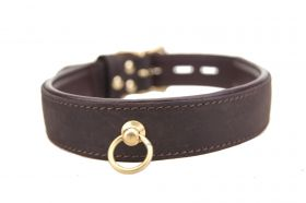 Bound Leather Choker with 'O' Ring - LCH